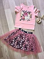 Комплект на девочку (юбка+кофта), размер 110-140, розовый+темно синий, фото 1