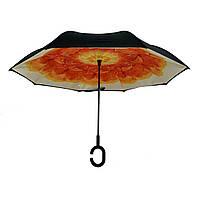 Женский зонт-полуавтомат / антизонт обратного сложения Smart Exclusive с оранжевым цветком, 88-4, фото 1