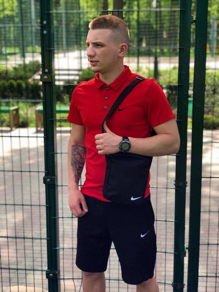 Мужская футболка (поло) в стиле Nike красная (S, M, L, XXL размеры)