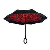 Женский зонт-полуавтомат / антизонт обратного сложения Smart Exclusive с бордовым цветком, 88-5, фото 1
