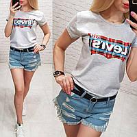 Женская футболка летняя качество реплика копия Levis турция 100% катонцвет серый, фото 1