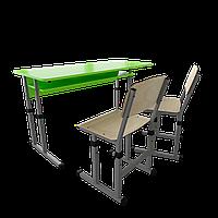 Парта + 2 стула школьная двухместная трансформер 3/1 Серый бархат, Цветное (апельсин/желтый/лазурь/лайм/лимон)