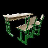 Парта + 2 стула школьная двухместная трансформер 3/1 Цветная (оранж/розовый/зеленый/синий), Дерево