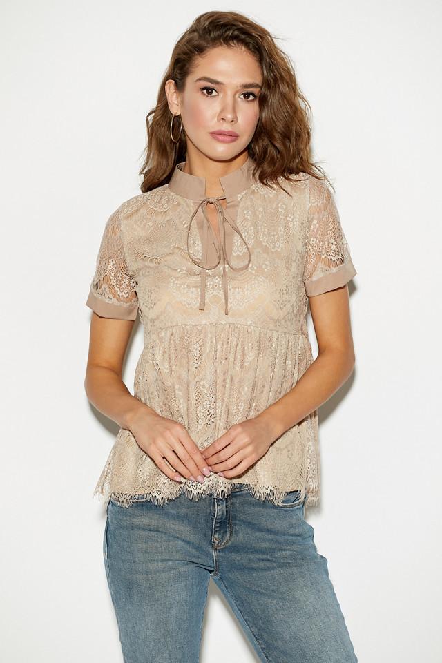 Жіноча літня блузка з гіпюру, бежева, молодіжна, повсякденна, святкова, нарядна