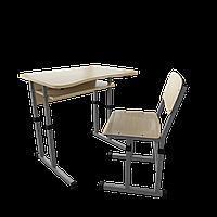 Парта со стулом школьная одноместная с вырезом трансформер 1/1 Серый бархат, Дерево