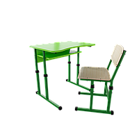 Парта со стулом школьная одноместная с вырезом трансформер 1/1 Цветная (оранж/розовый/зеленый/синий), Цветное (апельсин/желтый/лазурь/лайм/лимон)