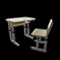 Парта со стулом школьная одноместная  трансформер 1/2 Серый бархат, Дерево