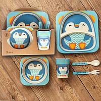 Бамбуковый набор детской посуды (ЭКО) «Пингвиненок».
