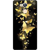 Бампер чехол силиконовый для Huawei Honor 6a с рисунком Золотые бабочки