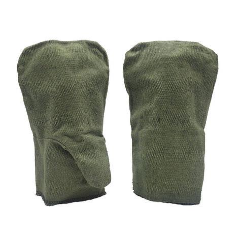 Рабочие рукавицы, двойной брезент, двухпалые, уп. — 25 пар, фото 2