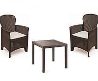 Набор садовой мебели King 1 стол + кресло Folia производство Италия цвет Коричневый, Антрацит