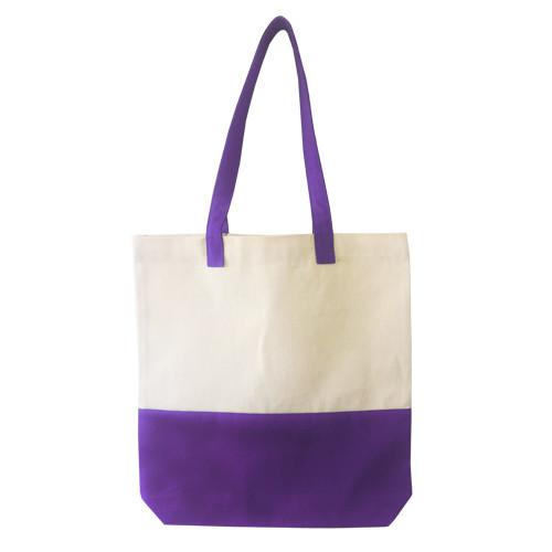 Двухцветная сумка из  саржи с дном Eurotorba, размер 35*7*35 см Фиолетовый