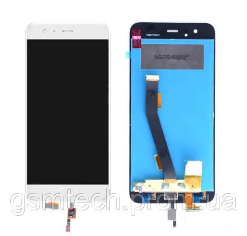 Дисплей с сенсором (модуль) для Xiaomi Mi6 белого цвета (со шлейфом отпечатка пальца)