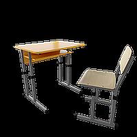 Парта со стулом школьная одноместная  трансформер 1/2 Серый бархат, Цветное (апельсин/желтый/лазурь/лайм/лимон)