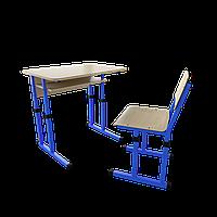 Парта со стулом школьная одноместная  трансформер 1/2 Цветная (оранж/розовый/зеленый/синий), Дерево