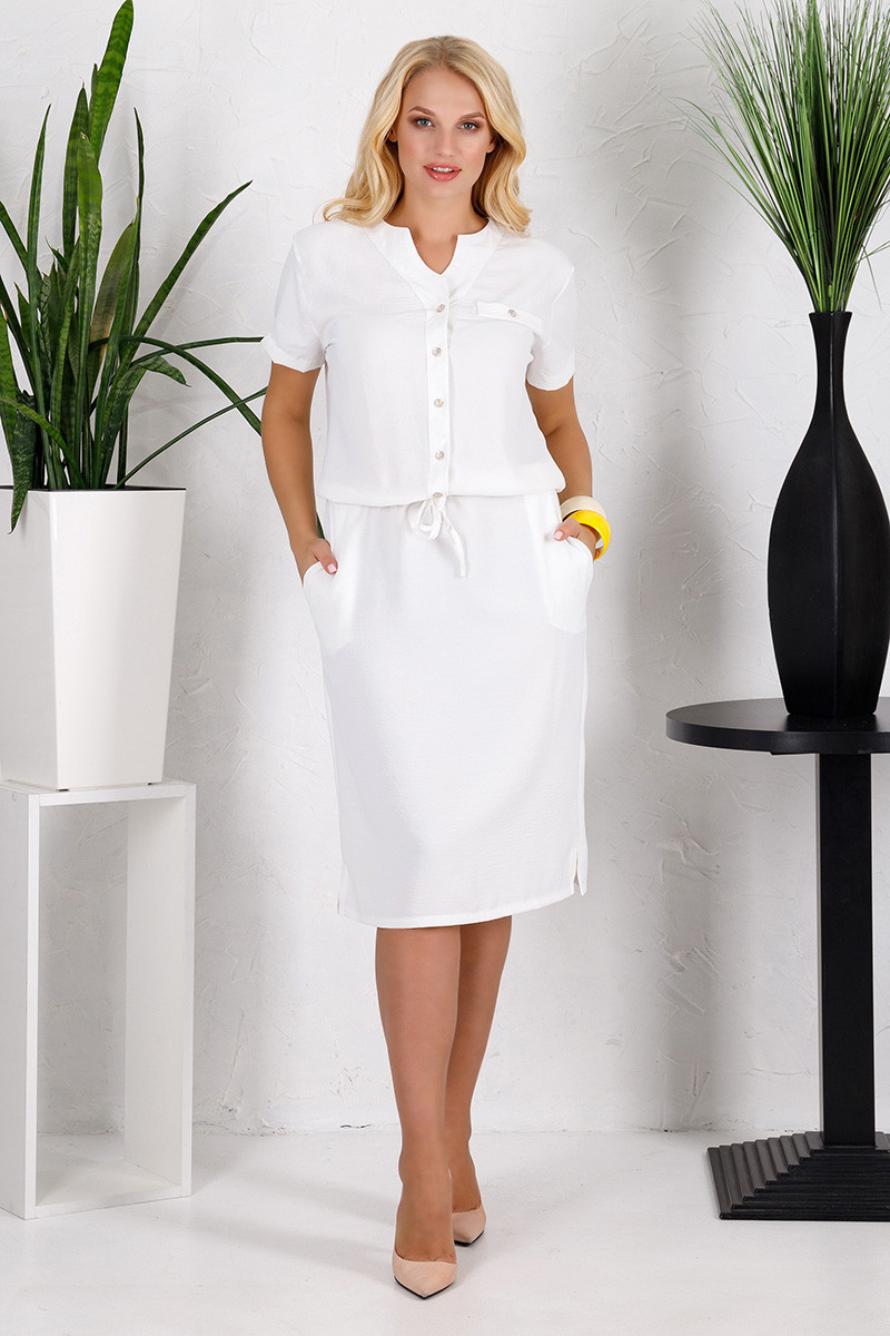 Платье большого размера Лен молоко