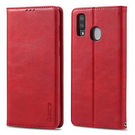 Чехол книжка для Samsung Galaxy A20 A205FZ боковой с отсеком для визиток, AZNS, красный