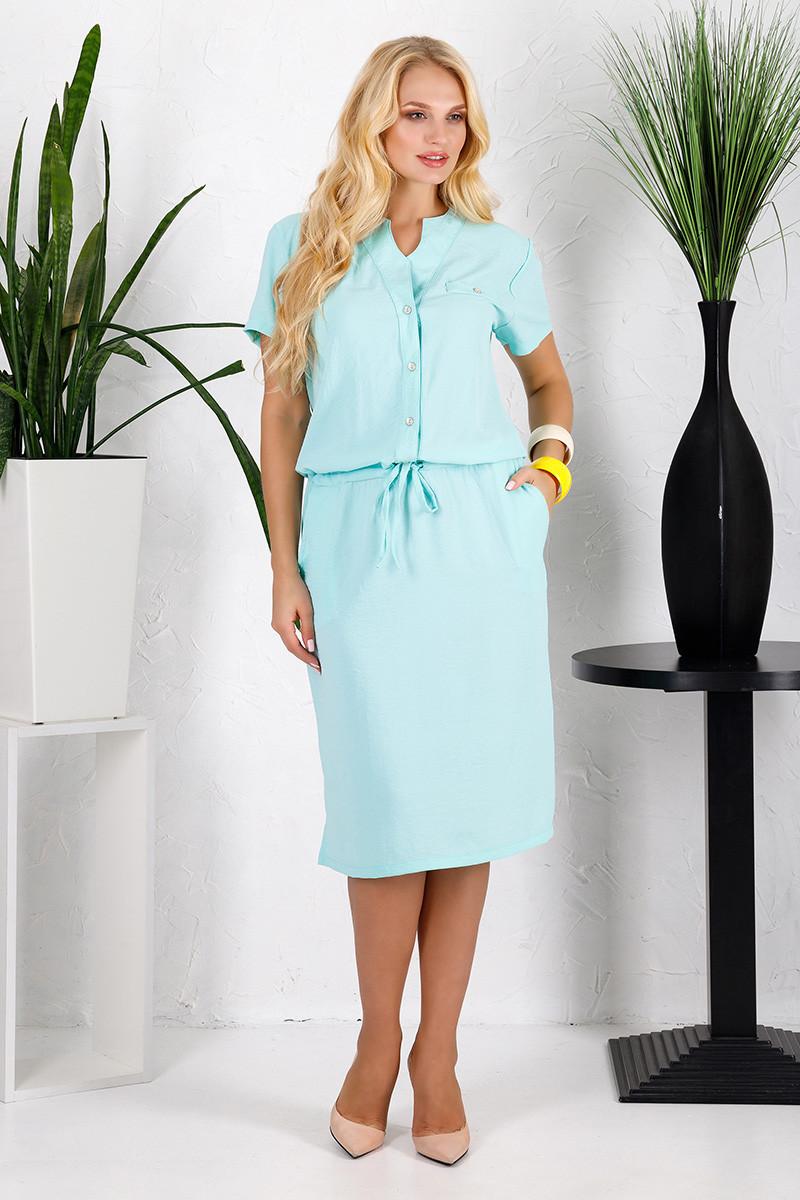 Платье большого размера Лен мята