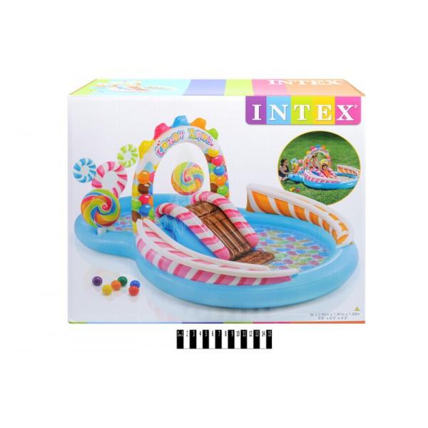 Надувний ігровий центр басейн з гіркою Intex 57149 Карамель, Солодощі Інтекс