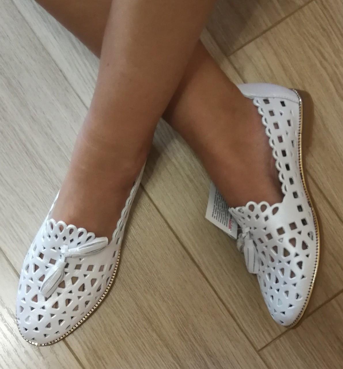 Versace ! Стильные женские белые летние кожаные балетки туфельки в стиле Версаче натуральная кожа