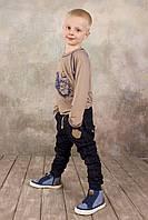 Детские брюки для мальчика джинсового типа на рост 98-134 см (КАР 03-00572)наличие размеров уточняйте, фото 1