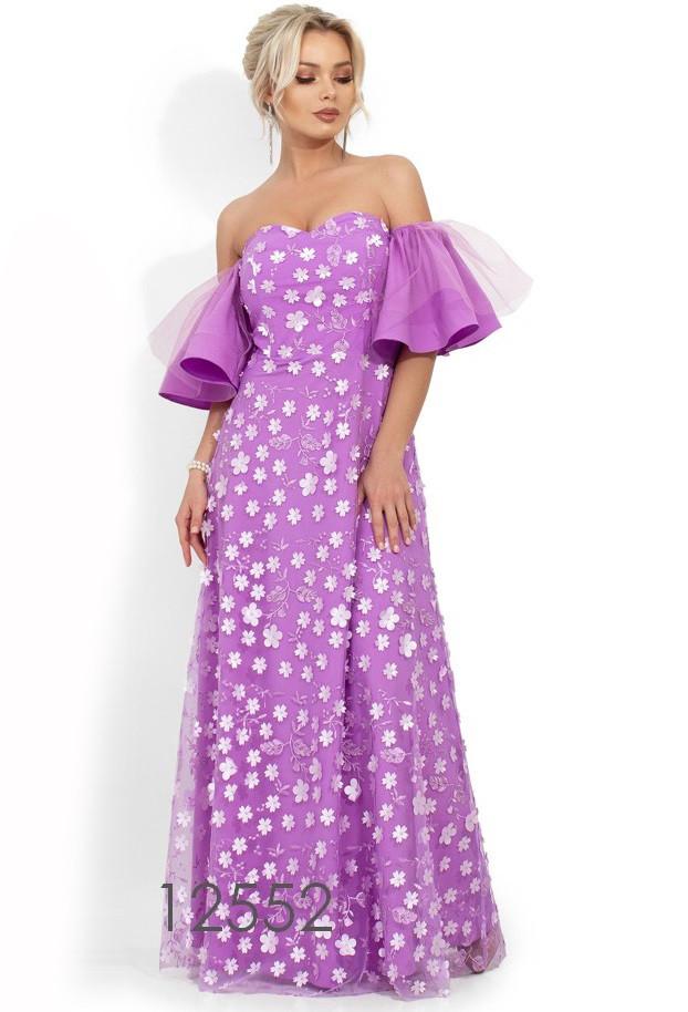 Вечернее сиреневое платье в пол с декольте-сердце Д-809