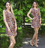 Короткое летнее платье с анималистическим принтом