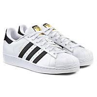 """Кроссовки мужские кожаные Adidas Superstar Wtite\Black """"Белые с черными полосками"""""""
