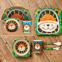 Бамбуковый набор детской посуды (ЭКО) «Тигренок».