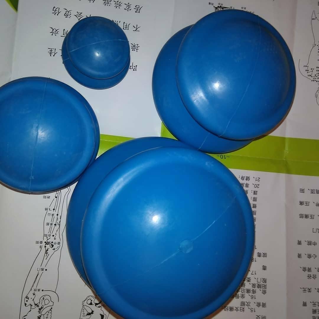 Сині гумові вакуумні банки 4 шт масажні гумові вакуумні масажні банки