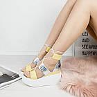 Женские босоножки желтого цвета на завязках, из натуральной кожи 38 ПОСЛЕДНИЙ РАЗМЕР, фото 3