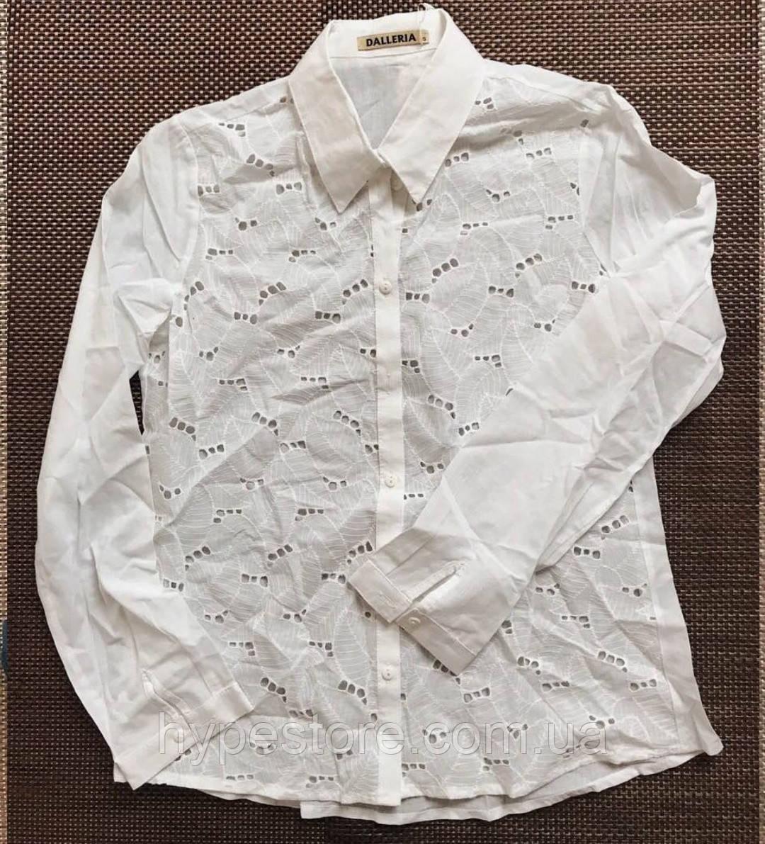 Нежная легкая белая женская блузка рубашка с вставками из прошвы,100% коттон,см. замеры в описании!!!