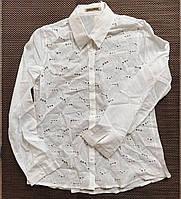 Нежная легкая белая женская блузка рубашка с вставками из прошвы,100% коттон,см. замеры в описании!!!, фото 1