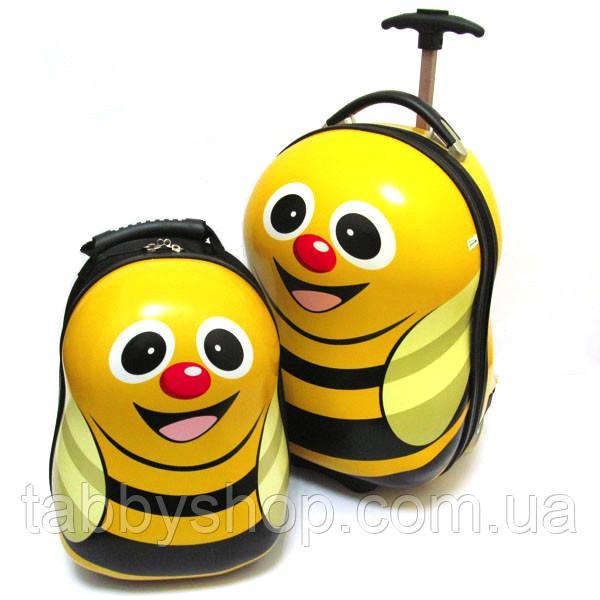 """Набір: чемодан дитячий на 2 колесах """"Бджілка"""" 17"""" + рюкзак"""