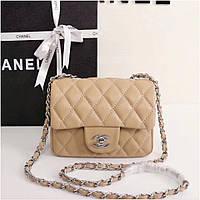 2c019e9811d2 Клатч, сумка Шанель 2.55 мини кожаная реплика в бежевом цвете, с серебром
