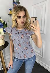 Блузка женская рукав 5001 валан принт цветы 42-48 (лето)