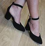 Комфортные туфли Limoda из натуральной замши босоножки на каблуке 6 см черные, фото 9