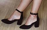 Комфортные туфли Limoda из натуральной замши босоножки на каблуке 6 см черные, фото 10