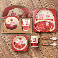 Бамбуковый набор детской посуды (ЭКО) «Пеппа».
