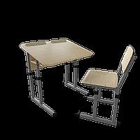 Парта со стулом школьная одноместная антисколиозная  трансформер 2/2 Серый бархат, Дерево