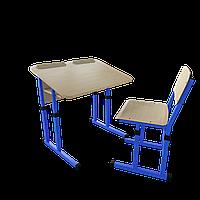 Парта со стулом школьная одноместная антисколиозная  трансформер 2/2 Цветная (оранж/розовый/зеленый/синий), Дерево
