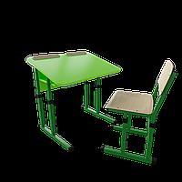 Парта со стулом школьная одноместная антисколиозная  трансформер 2/2 Цветная (оранж/розовый/зеленый/синий), Цветное (апельсин/желтый/лазурь/лайм/лимон)