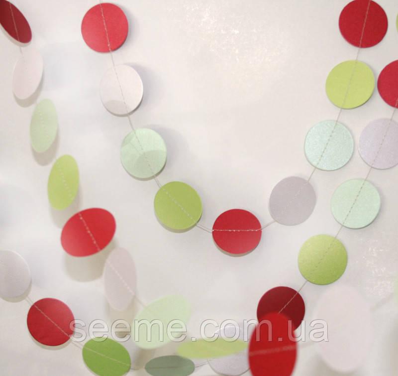 Гирлянда для декора праздника цветная, 2м