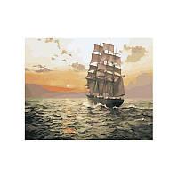 Картина по номерам Бригантина на рассвете 40х50 см (Распродажа остатков Склада)