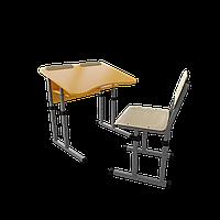 Парта со стулом школьная одноместная антисколиозная с вырезом трансформер 2/2