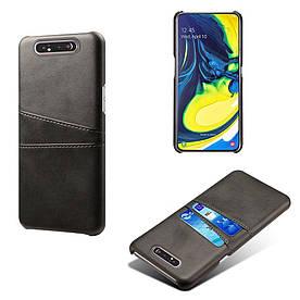 Чехол накладка для Samsung Galaxy A80 A805FD с кожаной поверхностью и отсеком для визиток, черный