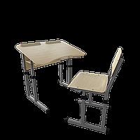 Парта со стулом школьная одноместная антисколиозная с вырезом трансформер 2/2 Серый бархат, Дерево