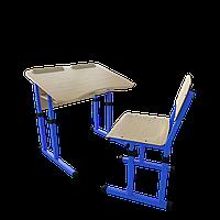 Парта со стулом школьная одноместная антисколиозная с вырезом трансформер 2/2 Цветная (оранж/розовый/зеленый/синий), Дерево