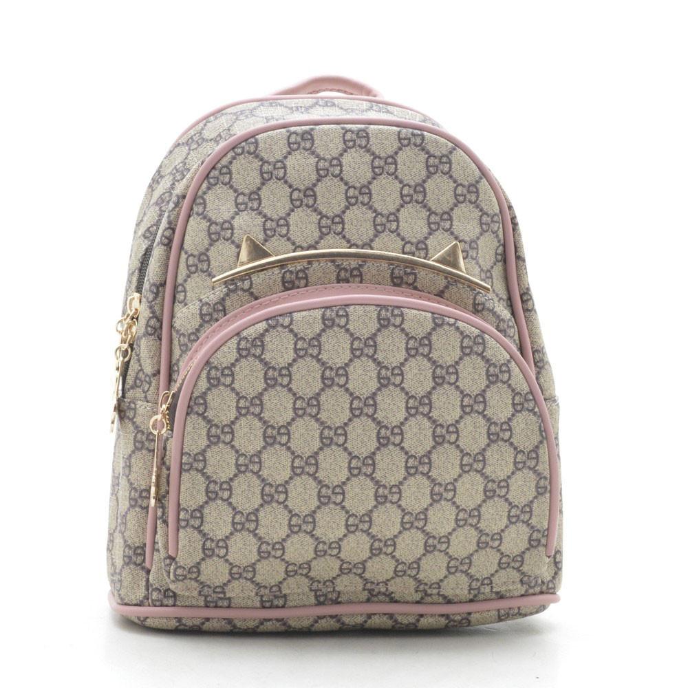 Рюкзак женский серый с розовым 178369