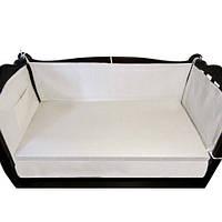 Защитный льняной бортик в кроватку (ткань хлопок) размер 60х120х40 см., кремовый